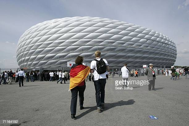 Fans arrive at the Munich Stadium on June 9 2006 in Munich Germany to watch Germany play Costa Rica in the opening game of the FIFA World Cup 2006...