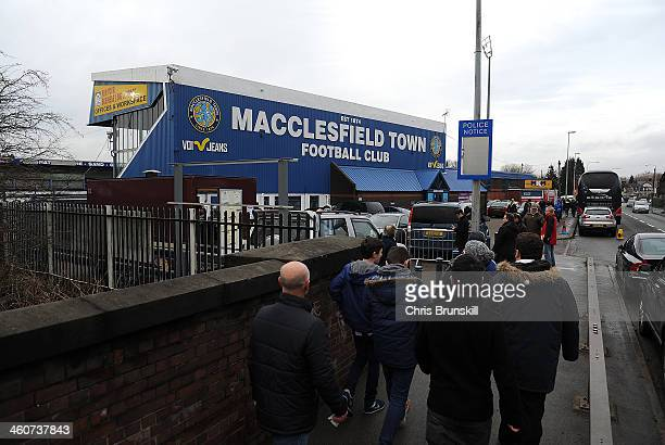 Fans arrive at the stadium ahead of the FA Cup with Budweiser Third Round match between Macclesfield Town and Sheffield Wednesday at Moss Rose Ground...