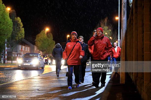 Fans arrive at the stadium ahead of the friendly match between Munster and Maori All Blacks at Thomond Park on November 11 2016 in Limerick Ireland