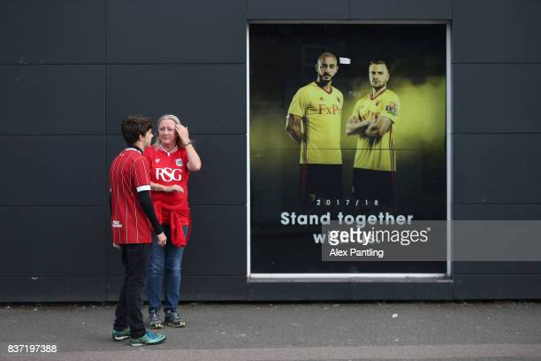Fans arrive at the stadium before the Carabao Cup Second Round match between Watford and Bristol City at Vicarage Road on August 22 2017 in Watford...