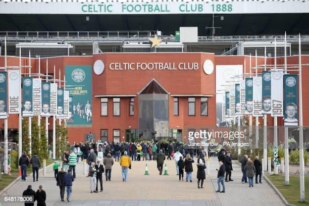 Fans arrive at the stadium before the Ladbrokes Scottish Premiership match at Celtic Park Glasgow