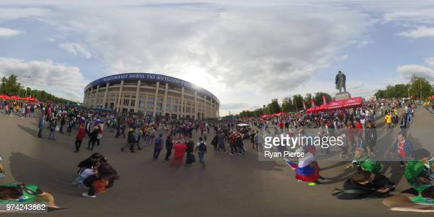 Fans arrive at the stadium prior to the 2018 FIFA World Cup Russia Group A match between Russia and Saudi Arabia at Luzhniki Stadium on June 14 2018...