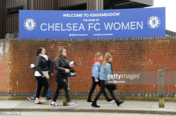 Fans arrive at the stadium prior to the FA Women's Super League match between Chelsea Women and West Ham United Women at Kingsmeadow on March 31 2019...