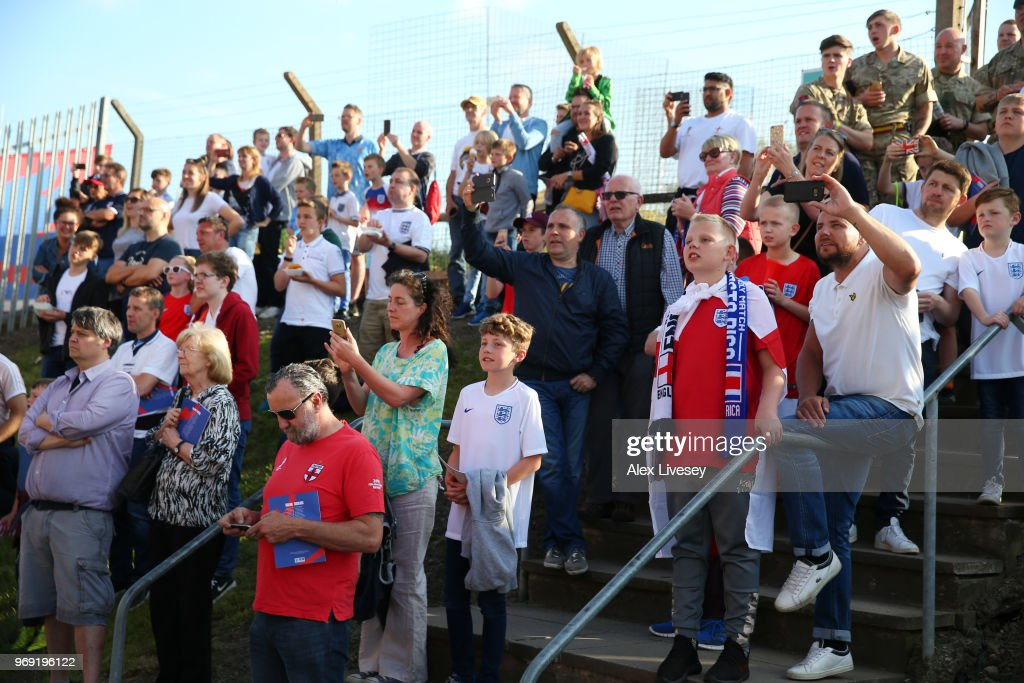 Fans arrive at the stadium prior to the International Friendly match between England and Costa Rica at Elland Road on June 7, 2018 in Leeds, England.