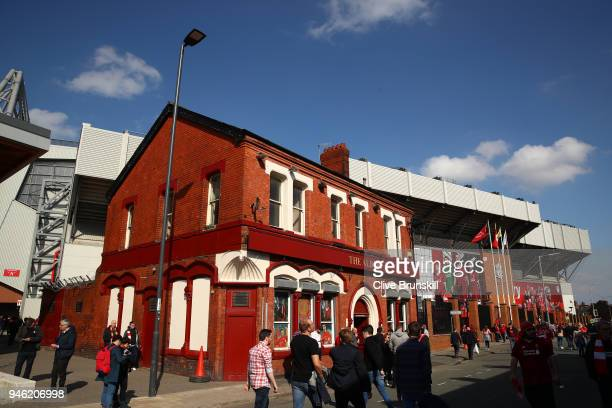 fans arrive at the stadium prior to the Premier League match between Liverpool and AFC Bournemouth at Anfield on April 14 2018 in Liverpool England