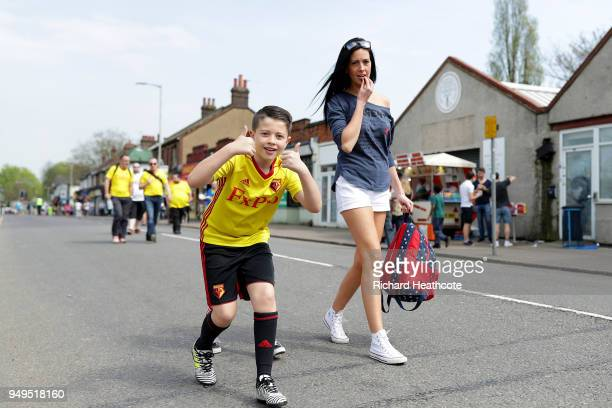 Fans arrive at the stadium prior to the Premier League match between Watford and Crystal Palace at Vicarage Road on April 21 2018 in Watford England