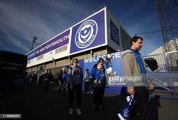 Fans arrive at the stadium prior to the Sky Bet League One PlayOff Second Leg match between Portsmouth and Sunderland at Fratton Park on May 16 2019...