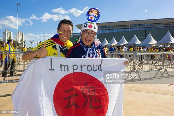 Fans arrive before the 2014 FIFA World Cup Group C match between Japan and Colombia at Arena Pantanal on June 24 2014 in Cuiaba Brazil