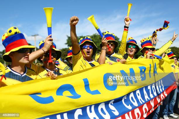 Fans arrive before the Group C match between Colombia and Cote D'Ivoire at Estadio Nacional on June 19, 2014 in Brasilia, Brazil.