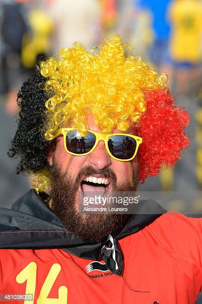 Fans arrive before the Group H match between Belgium and Russia during the 2014 FIFA World Cup at Maracana Stadium at Maracana on June 22 2014 in Rio...