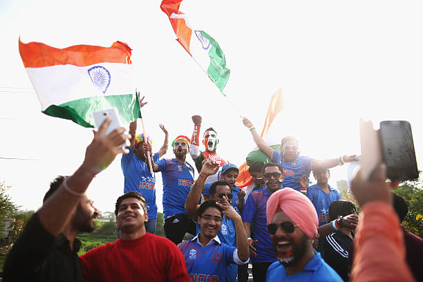 Fans arrive before the ICC WT20 India Group 2 match between India and Australia at IS Bindra Stadium on March 27 2016 in Mohali India