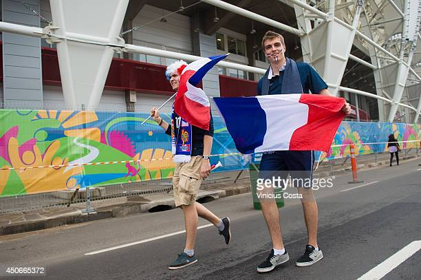Fans arrive before the match between France and Honduras at Beira Rio Stadium on June 15, 2014 in Porto Alegre.