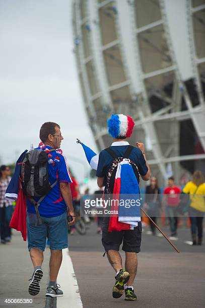 Fans arrive before the match between France and Honduras at Beira Rio Stadium on June 15 2014 in Porto Alegre