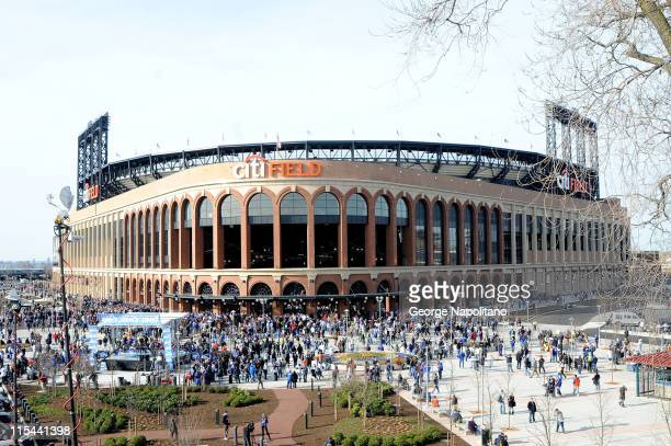 Fans arrive before the start of the Opening Day game between the San Diego Padres and the New York Mets at Citi Field on April 13 2009 in the...