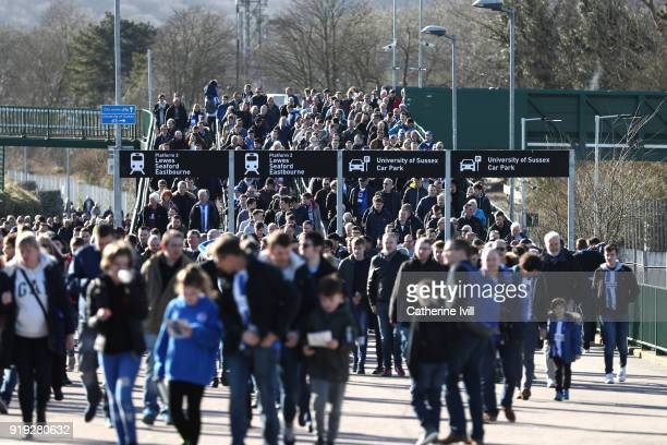 Fans arrive by train prior to the The Emirates FA Cup Fifth Round between Brighton and Hove Albion v Coventry City at Amex Stadium on February 17...