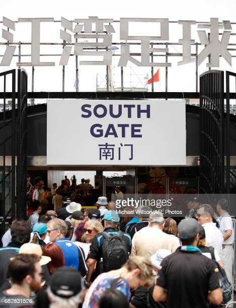 Fans arrive during the 2017 AFL round 08 match between the Gold Coast Suns and Port Adelaide Power at Jiangwan Sports Stadium on May 14 2017 in...