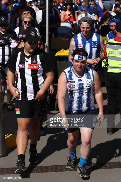 Fans arrive during the AFLW Finals Series match between the Collingwood Magpies and the North Melbourne Kangaroos at Victoria Park on April 03, 2021...