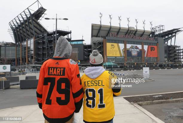 Fans arrive early for the 2019 Coors Light NHL Stadium Series game at the Lincoln Financial Field between the Philadelphia Flyers and the Pittsburgh...
