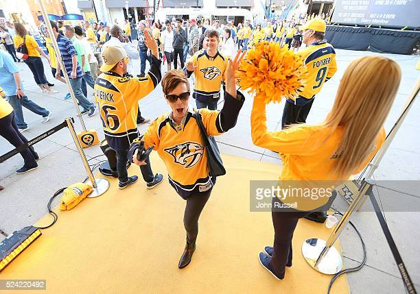 Fans arrive for Game Six of the Western Conference First Round between the Nashville Predators and the Anaheim Ducks during the 2016 NHL Stanley Cup...