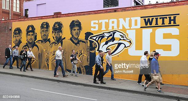 Fans arrive for Game Three of the Western Conference First Round between the Nashville Predators and the Anaheim Ducks during the 2016 NHL Stanley...