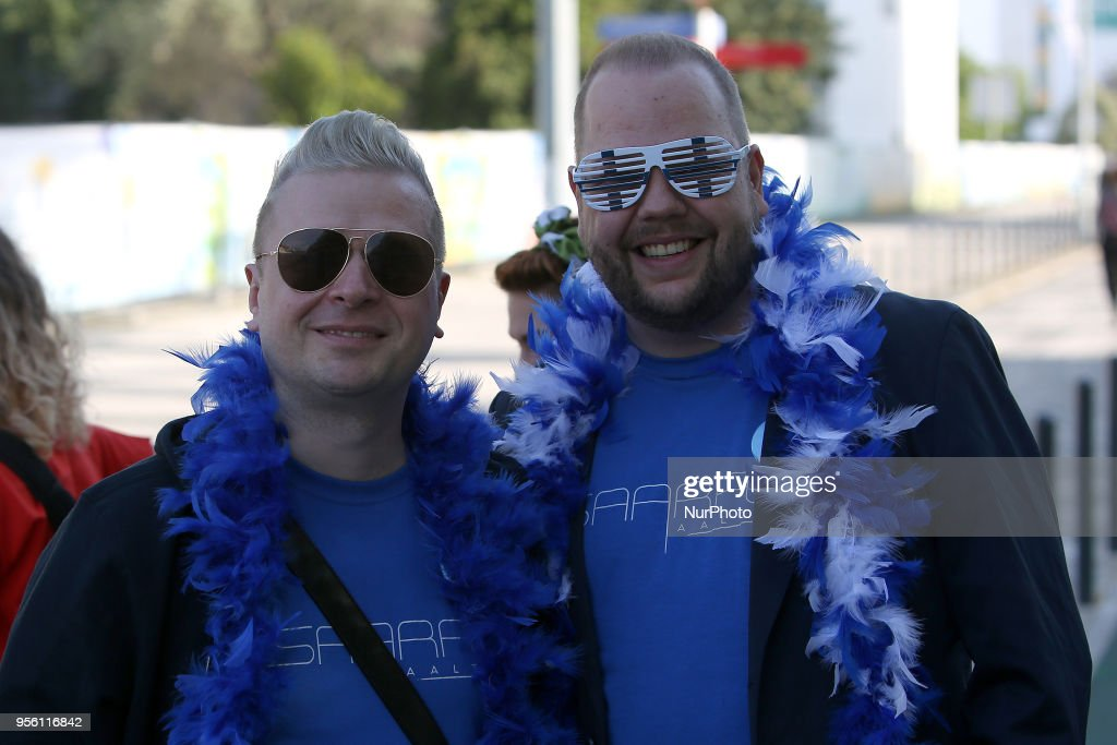 Fans arrive for the first semi-final of the 2018 Eurovision Song Contest, at the Altice Arena in Lisbon, Portugal on May 8, 2018.