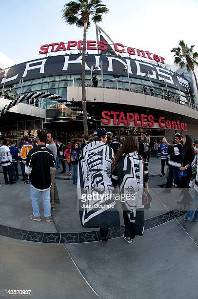 Fans arrive for the game between the Los Angeles Kings and the Vancouver Canucks in Game Four of the Western Conference Quarterfinals during the 2012...