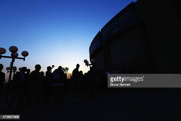 Fans arrive for the game between the New York Islanders and the Washington Capitals in Game Four of the Eastern Conference Quarterfinals during the...