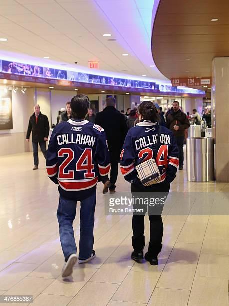 Fans arrive for the game between the New York Rangers and the Toronto Maple Leafs wearing jerseys bearing the name of the traded Ranger Ryan Callahan...