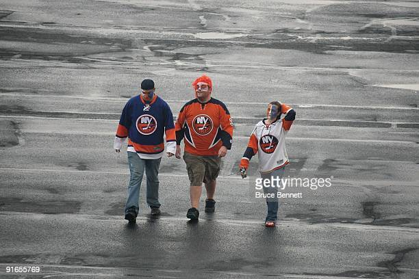 Fans arrive for the game between the Pittsburgh Penguins and the New York Islanders at the Nassau Coliseum on October 3 2009 in Uniondale New York