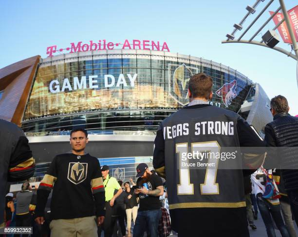 Fans arrive for the Golden Knights' inaugural regularseason home opener against the Arizona Coyotes at TMobile Arena on October 10 2017 in Las Vegas...
