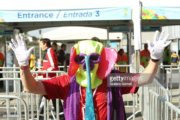 Fans arrive for the Group B match between Australia and Spain during the 2014 FIFA World Cup Brazil at Arena da Baixada on June 23 2014 in Curitiba...