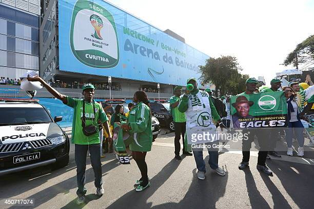 Fans arrive for the Group F match between Iran and Nigeria during the 2014 FIFA World Cup Brazil at Arena da Baixada on June 16 2014 in Curitiba...