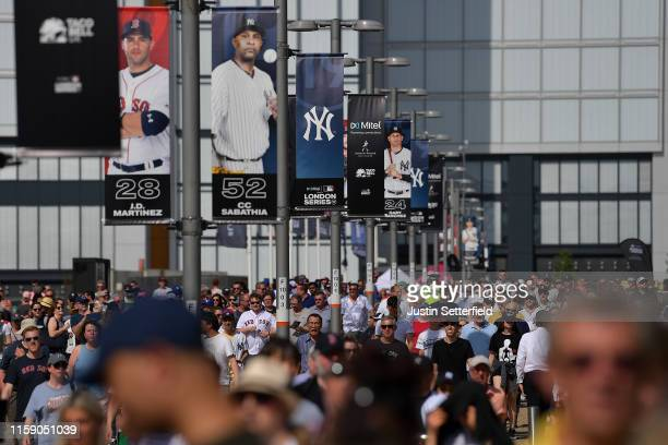 Fans arrive for the MLB London Series game between the New York Yankees and the Boston Red Sox at London Stadium on June 29 2019 in London England