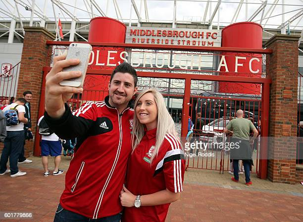 Fans arrive for the Premier League match between Middlesbrough and Crystal Palace at Riverside Stadium on September 10 2016 in Middlesbrough England