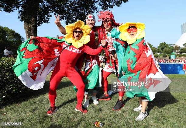 Fans arrive for the Rugby World Cup 2019 Group D game between Wales and Uruguay at Kumamoto Stadium on October 13 2019 in Kumamoto Japan
