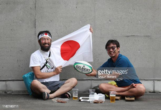 Fans arrive for the Rugby World Cup 2019 Quarter Final match between Wales and France at Oita Stadium on October 20 2019 in Oita Japan
