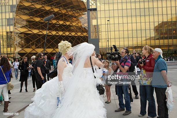 Fans arrive for the second semi final of the Eurovision Song Contest 2013 at Malmo Arena on May 16 2013 in Malmo Sweden