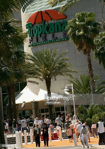 Fans arrive for the Tampa Bay Devil Rays home opener against the Toronto Blue Jays at Tropicana Field on April 4, 2005 in St. Petersburg, Florida....