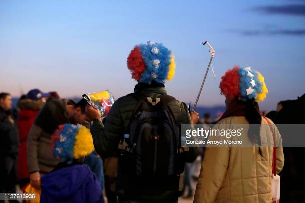 Fans arrive outside the stadium ahead of the International Friendly match between Argentina and Venezuela at Estadio Wanda Metropolitano on March 22...