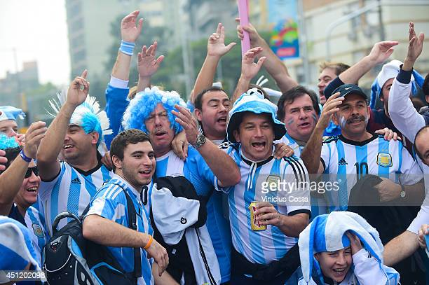 Fans arrive prior to the 2014 FIFA World Cup Brazil Group F match between Nigeria and Argentina at Beira Rio Stadium on June 25 2014 in Porto Alegre...