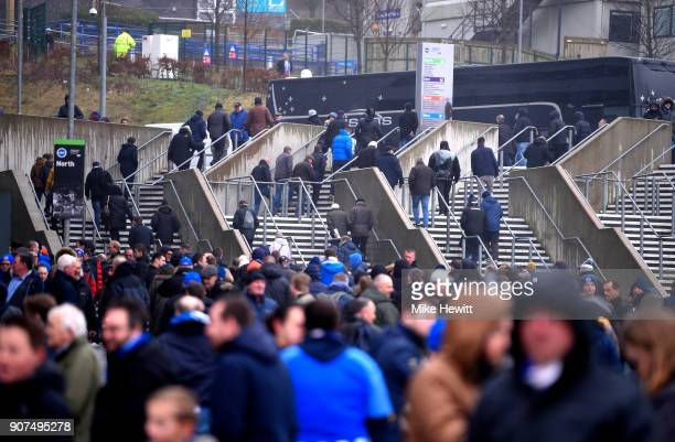 Fans arrive prior to the Premier League match between Brighton and Hove Albion and Chelsea at Amex Stadium on January 20 2018 in Brighton England