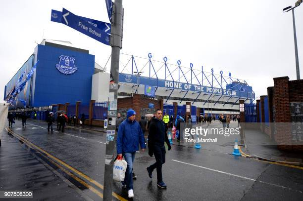 Fans arrive prior to the Premier League match between Everton and West Bromwich Albion at Goodison Park on January 20 2018 in Liverpool England