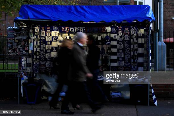 Fans arrive prior to the Sky Bet Championship match between Queens Park Rangers and Aston Villa at Loftus Road on October 26 2018 in London England