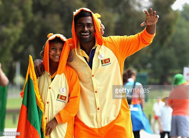 Fans arrive to show their support during the 2015 ICC Cricket World Cup match between Sri Lanka and Bangladesh at Melbourne Cricket Ground on...