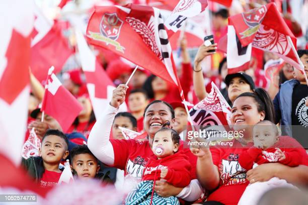 Fans arrive to the stadium ahead of the International Test match between Tonga and Australia at Mount Smart Stadium on October 20 2018 in Auckland...