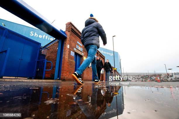 Fans arriving at Hillsborough prior to the Sky Bet Championship match between Sheffield Wednesday and Preston North End at Hillsborough Stadium on...