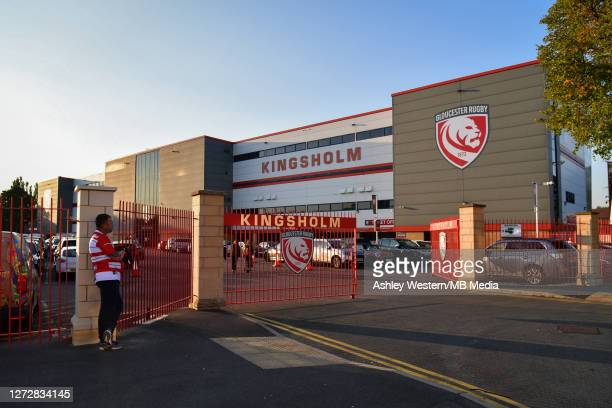 Fans arriving for the Gallagher Premiership Rugby match between Gloucester Rugby and Harlequins at Kingsholm Stadium on September 14 2020 in...