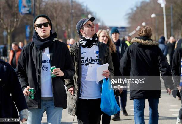 Fans arriving outside the stadium prior to the Danish Alka Superliga match between FC Copenhagen and FC Nordsjalland at Telia Parken Stadium on April...