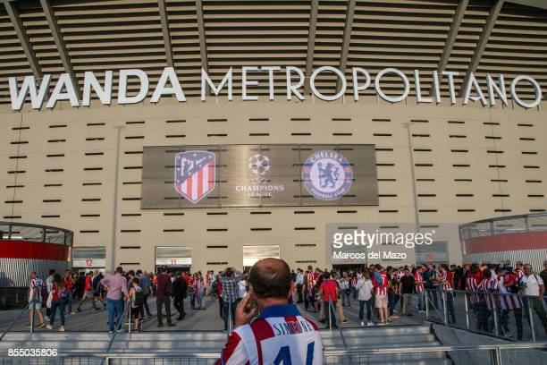 Fans arriving to Atletico de Madrid Wanda Metropolitano Stadium ahead of Champions League match against Chelsea.