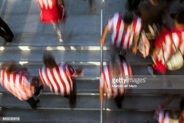 Fans arriving to Atletico de Madrid Wanda Metropolitano Stadium ahead of Champions League match against Chelsea